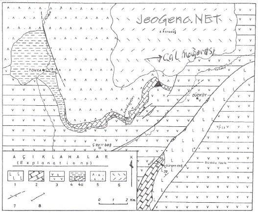 tonya düzköy bölgesinin jeolojik haritası
