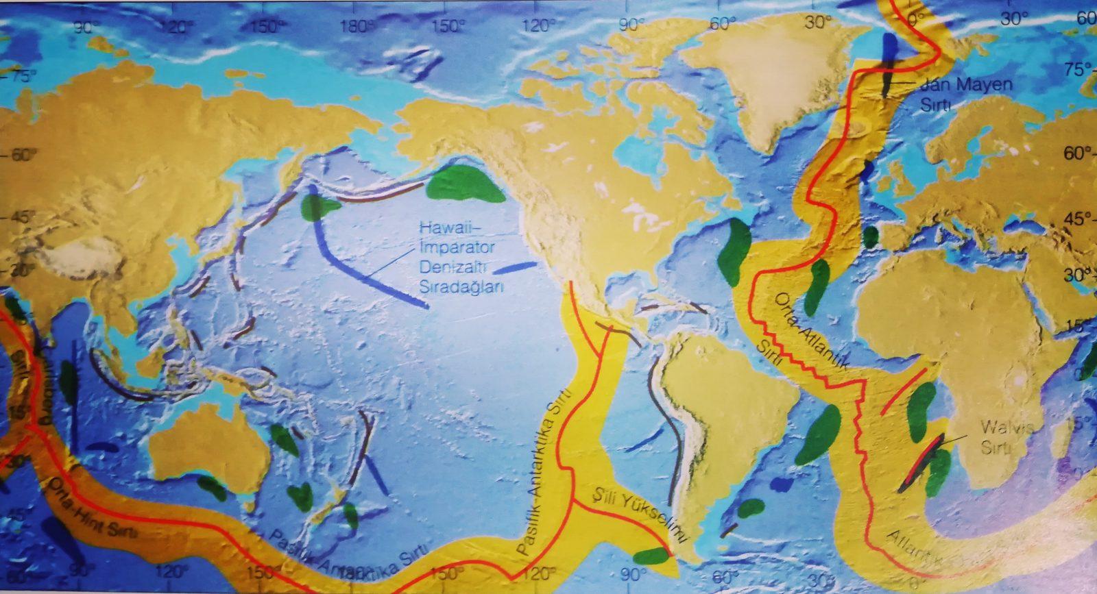 Denizaltı Dağları, Guyolar ve Depremsiz Sırtları